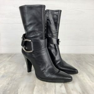 Antonio Melani Mid Calf Black Heeled Boots Size 8